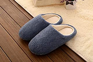 YANGLAN Autumn and winter plush indoor slippers solid soft home shoes men's warm shoes slippers Household slippers (Color : E, Size : (44~45))