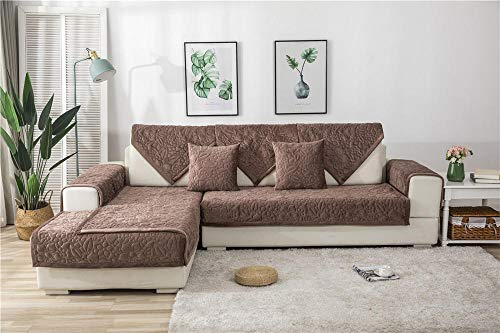 Allenger L Shape Non-Slip Sofa Slipcover,Thick Plush Sofa Towel For Home Living Room Decoration Protector Cover Slipcovers Solid Color Non-Slip Couch Seat Cushion Covers-Brown_Pillowcase 30X50Cm