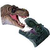 KELIWOW Dinosaur Hand Puppets Realistic Soft Rubber Tyrannosaurus Rex Dinosaur Toys for Kids Boys Girls Dino Head Glove Toy (2 Pack)