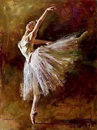 ERTOQ DIY Pintura al óleo Bailarina de Ballet Blanco Pintar para Pintura por Números con Pinceles y Pinturas Decoraciones (16 * 20 Pulgadas, Sin Marco)