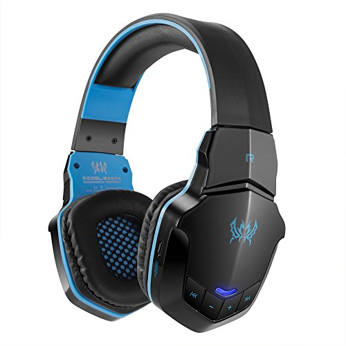 docooler KOTION Each Cuffie da Gioco Cuffie Bluetooth Senza Fili Bluetooth 4.1 Cuffie da Musica Stereo Over-Ear con Microfono per iPhone7 6 Plus Tablet PC Nero con Blu