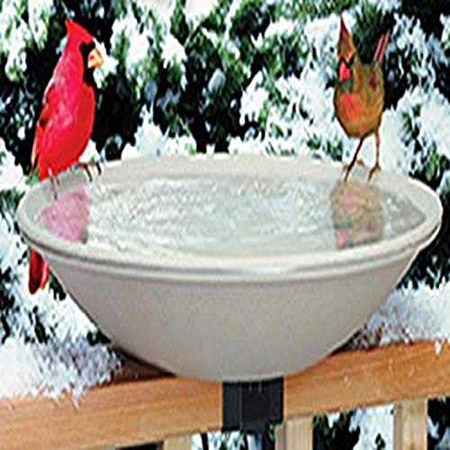 Allied Precision Industries (650) Heated Bird Bath with Mounting Bracket, Light stone color, 20' Diamter