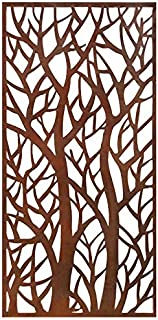 Stratco Decorative Privacy Screen Panel, Forest Design with Rustic Look 6' x 3' Lightweight Metal