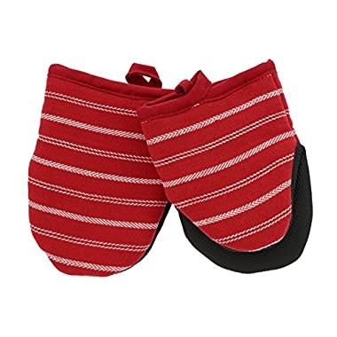 Cuisinart Twill Stripe Mini Oven Mitts w/Neoprene for Easy Gripping, Heat Resistant up to 500 degrees F, Bright Red- 2pk