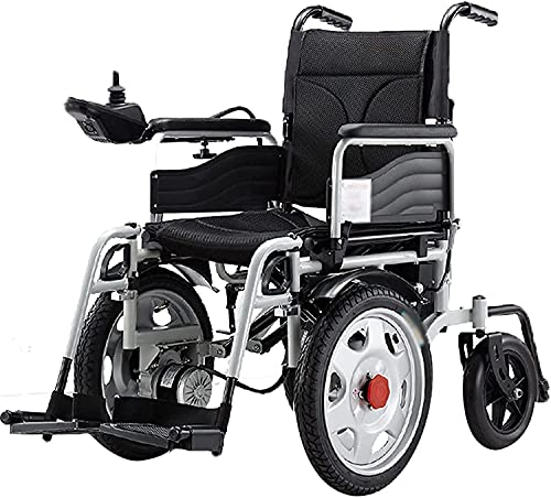 MENG Electric Wheelchair Foldable Anti-Backward Light Portable Four-Wheeled Scooter with Anti-Dumping Wheelchair for The Elderly and The Disabled,Black