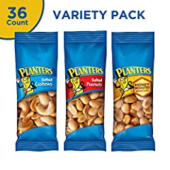 Each pack contains: 15 Salted Peanuts, 15 Honey Roasted Peanuts, 6 Salted Cashews Planters Nuts Variety Packs are made with premium Kosher nuts for a satisfying snack Choose from salted cashews, salted peanuts or honey-roasted peanuts for variety Ind...