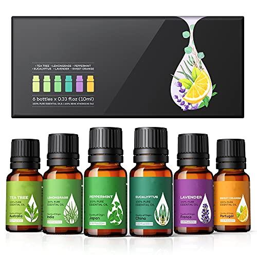 Oli Essenziali per Diffusori, Olio Essenziale, Aromaterapia (Dal Rilassante Profumo) di Lavandaadatti per Diffusori, Umidificatori, Massaggio, Versione 2021, 6 x 10 ml