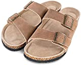 TF STAR Men's Arizona Cow Suede Leather Slide Sandals,2-Strap Adjustable Buckle,Casual Slippers, Slide Cork Footbed shoes