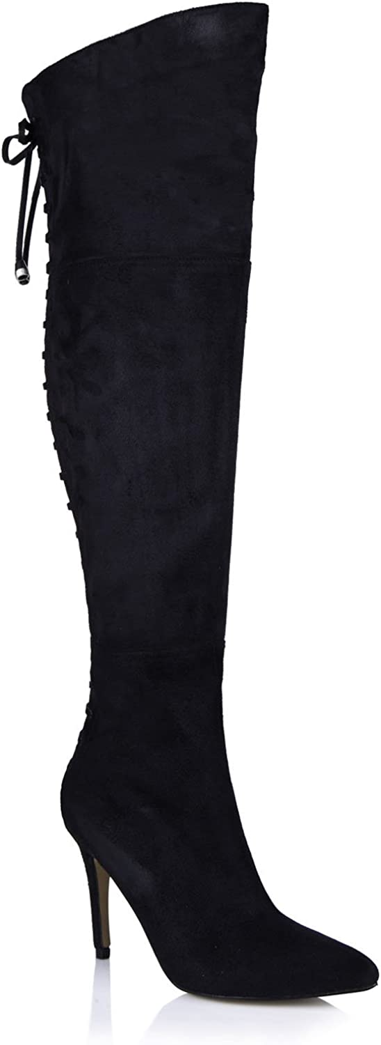 CHMILE CHAU Women Fashion Over-The-Knee Boots Pointed Toe Stiletto Lace up High Heeled Thigh High Boots