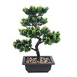 XHCP Árbol de bonsái Artificial, decoración de Plantas Falsas Simulación Artificial en Maceta, Planta de Arte de bonsái de Pino japonés, decoración de Boda/Oficina/hogar (Color: Cya