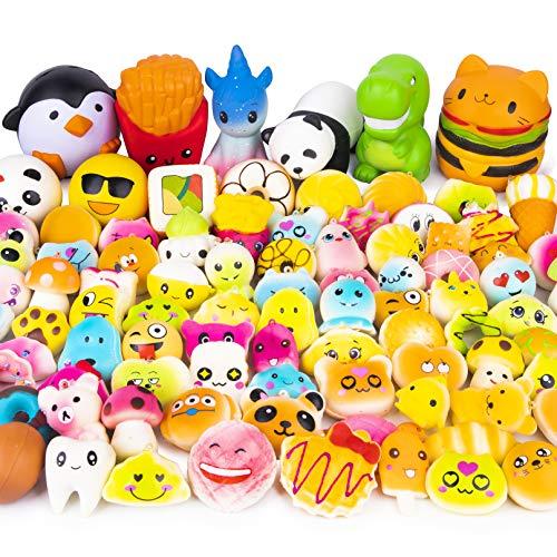 WATINC 50 Stücke Kawaii Squishies Spielzeug Set Creme Duftenden Tier Essen Squishy Toys Anti-Stress Langsam Steigenden Soft Squeeze Party Geschenke für ADHS Das Büro Kindergeburtstag Erwachsene