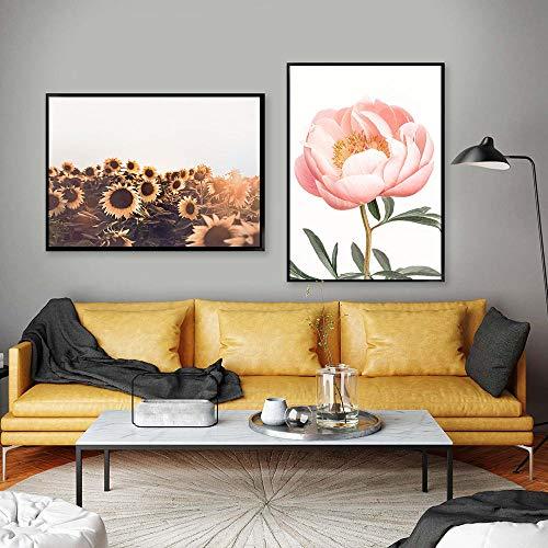 VVSUN Escandinavo Flor Rosa peonía Girasol Planta Cartel nórdico botánico impresión Lienzo Pintura Pared Arte Imagen decoración del hogar 50X70cm 20x28inchx2 sin Marco