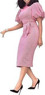 VERWIN Stand Collar Short Sleeve Mid-Calf Lantern Sleeve Office Lady Bodycon Dress