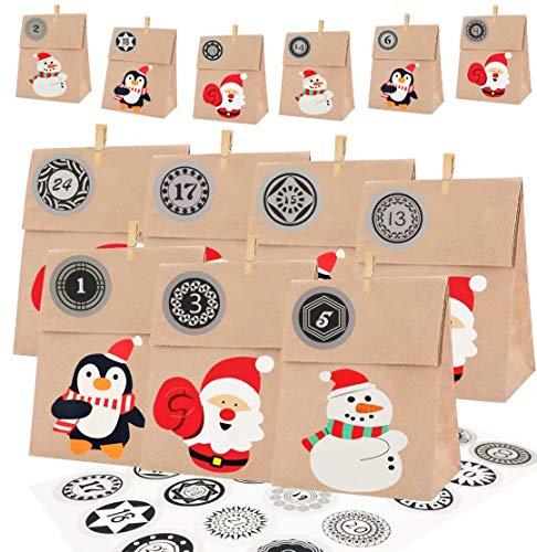 Xinmeng Bolsas de Regalo para Navidad 24pcs Papel Regalo Bolsas con Pegatinas Bolsas de Papel Kraft navideño con 1-24 Pegatinas Digitales,Clips de Madera y tarjetas.para Fiestas de Navidad.12*7*22cm