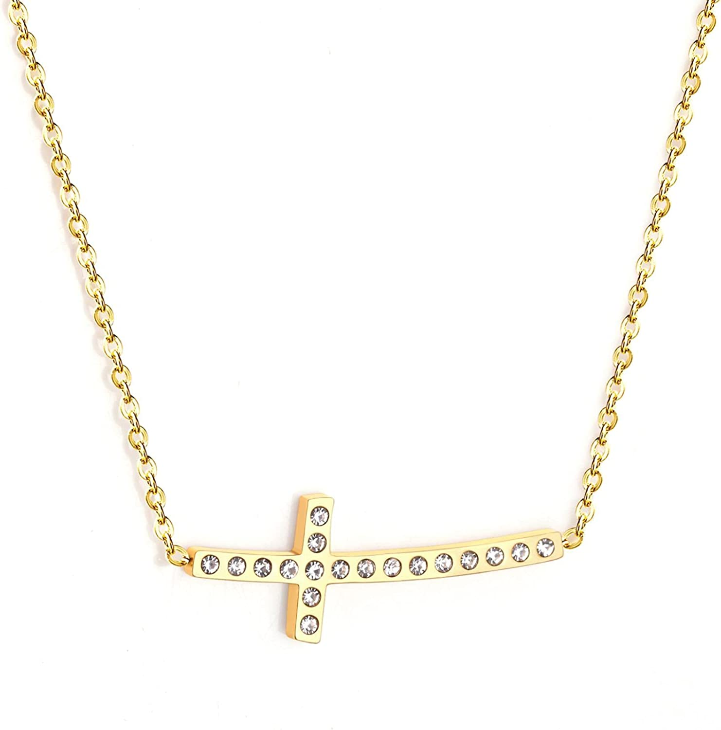 Friend Necklace Gold Color Cross Pendant Necklace Stainless Steel Collars Choker Party
