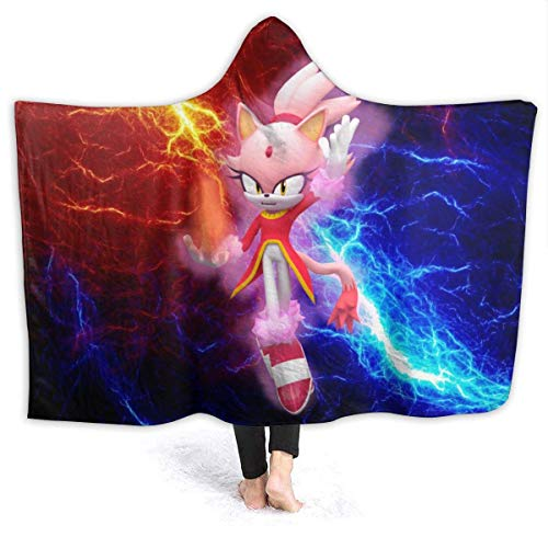CHICLI Spring Hooded Blankets for Kids Teens, Sonic The Hedgehog Burning Super Blaze The Cat Wearable Blankets for Pretend Play, Dorm Room, Car, Breathable Large Sherpa Fleece Blanket