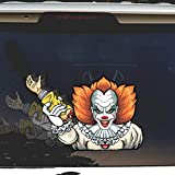 Crazy Killer Clown WiperTags with Decal attaches to Rear Vehicle Wiper. Perfect for Halloween or Year Round use. Made in USA.