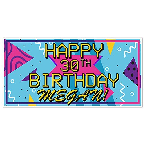 Retro 80s Birthday Banner Party Decoration Backdrop