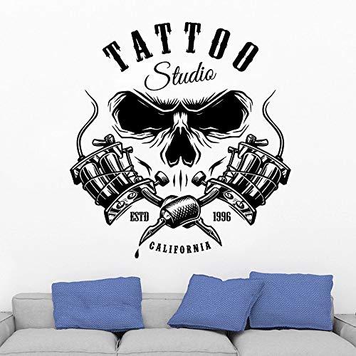 HGFDHG Etiqueta engomada de la Pared del Cartel del Tatuaje Estudio Art Deco Vinilo salón Tatuaje Etiqueta de la Pared Ventana Moderna decoración de la Pared del salón de Belleza