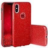 QULT Handyhülle kompatibel mit iPhone XS iPhone X Hülle Glitzer Rot glänzend TPU Tasche iPhone X/XS Case Silikon Bumper mit Glitter Design Sparkles Red (EINWEG)