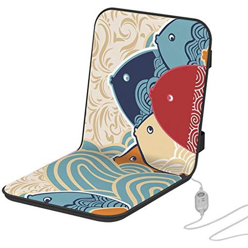 YUESFZ Stuhlkissen Elektrisches Heizkissen, Büro Sitzende Integrierte Rückenlehne, Verstellbarer Sitzwärmer Verdicken, 3-Gang-Timing, 6-Gang-Temperatureinstellung (Color : B, Size : 40 * 90cm)