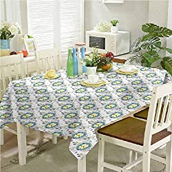 Square Tablecloth Tattoo Thanksgiving Tablecloth Abstract Clocks in Boho Style with Watercolor Dots Timekeeper Horologe 60 x 120 inch