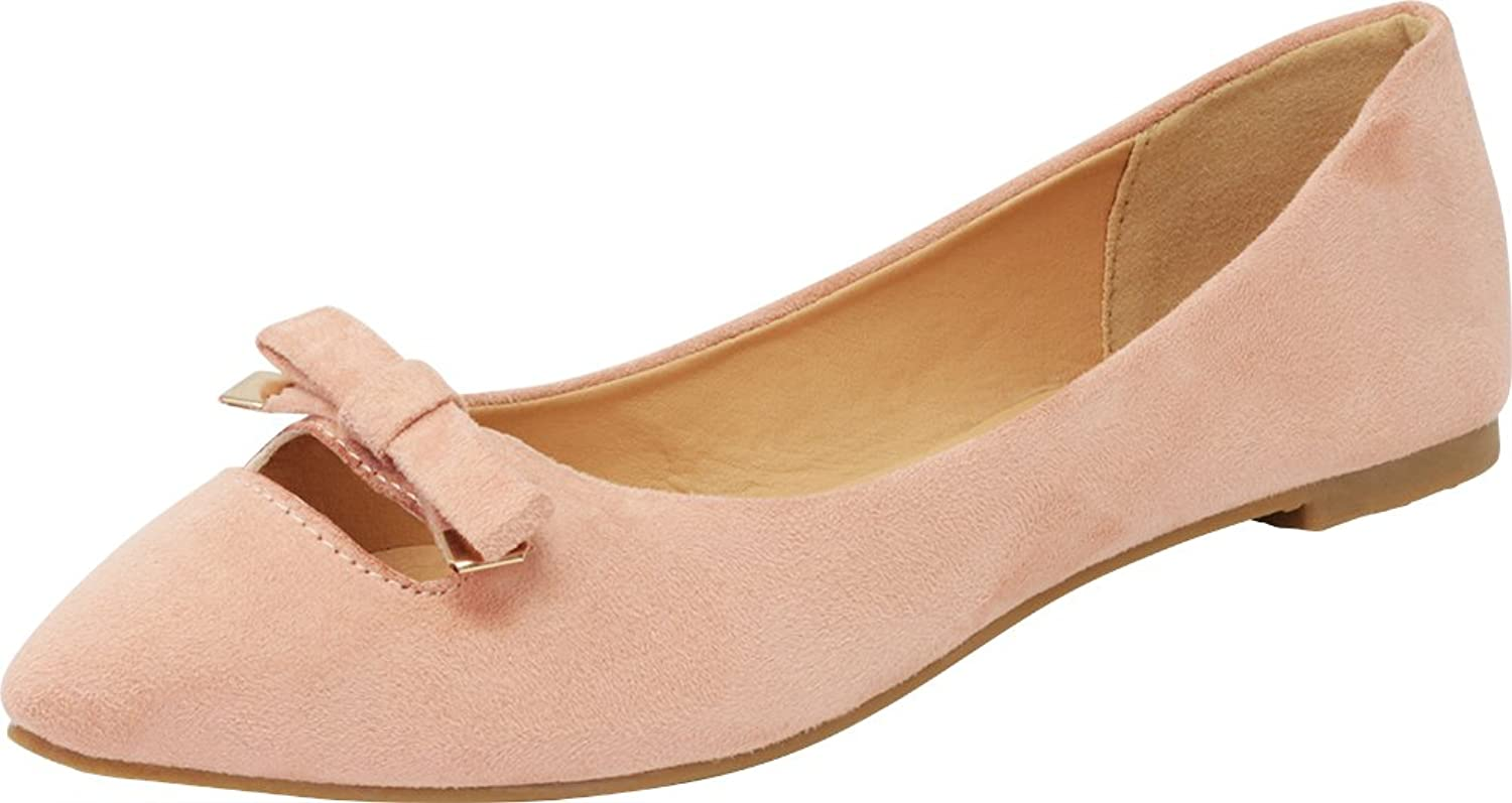 Cambridge Select Women's Closed Pointed Toe Slip-On Bow Cutout Ballet Flat