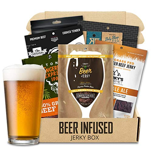 Beer Infused Jerky Box – Beef Jerky Snack Pack – Delicious Beef Jerky with Craft Beer Flavor – Premium Beef Jerky – Tasty Beer Jerky Snack – Pack of 6 Beer Infused Beef Jerky