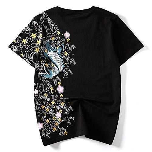 HUITAILANG Camisetas Hombre Novedad Divertido Top Gráfico, Bordado De Carpa Negro Vintage, Algodón Comfort Soft Unisex tee, Tendencia Cuello Redondo Hip Hop Personalidad Moda Casual, 5X, Large