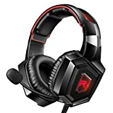 RUNMUS Gaming Headset for PS4, Xbox One, PC Headset w/Surround Sound, Noise Canceling Over Ear Headphones with Mic & LED Light, Compatible with PS4, Xbox One, Switch, PC, PS3, Mac, Laptop, Red