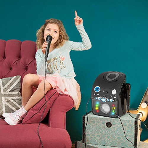 auna StarMaker BK • Kinder Karaoke Anlage • Karaoke Player • Karaoke Set • 2 x dynamische Kabel-Mikrofone • Bluetooth • integrierter Lautsprecher • CD+G-Player • Top Loading • Echo Effekt • A.V.C. Funktion • Video-Ausgang • USB-Port • LED Lichteffekte • schwarz - 6
