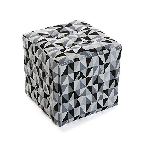 Versa 19501326 Taburete cubo puff asiento Rhune,35x35x35, Blanco Negro Gris