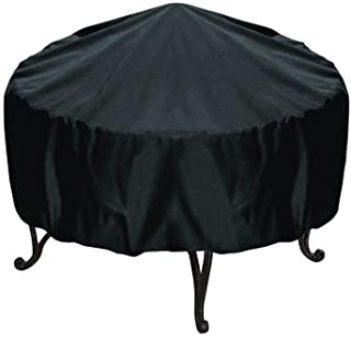 SGerste 77x58cm Patio Round Fire Pit Cover Waterproof UV Rain Snow Outdoor Protector Grill BBQ Cover Black