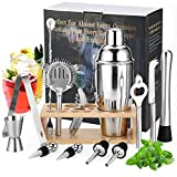 Gomyhom Shaker Cocktail Set, 14 Pezzi Kit Barman Professionale in Acciaio Inox, 750ml Shaker per Cocktail con Supporto in bambù, per Casa E Bar Ricetta Regali per Lui