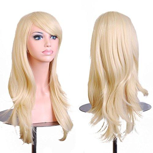 Disfraz Inshop - Peluca grane para disfraz. Pelo largo (70 cm) y ondulado. Resistente al calor.