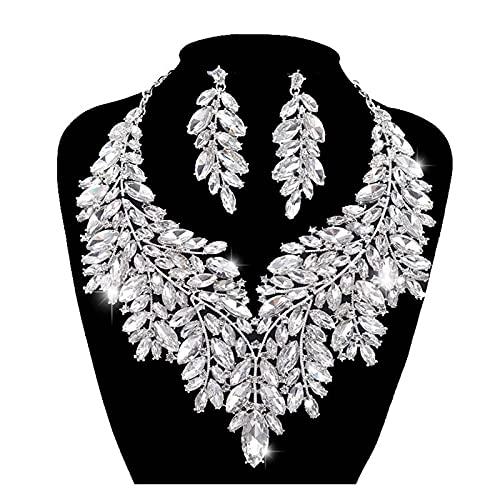 ZCPCS Lujoso Estilo Dubai Estilo Conjuntos de joyería de Boda Declaración de Cristal de Diamantes de imitación Collar de Color de Plata Nupcial Conjunto Dama