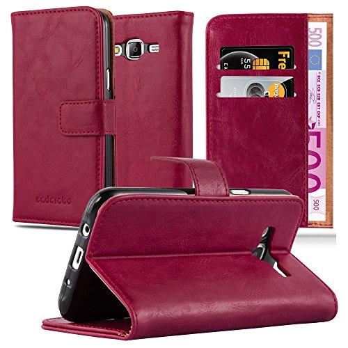 Cadorabo Hülle für Samsung Galaxy J5 2015 (5) - Hülle in Wein ROT – Handyhülle im Luxury Design mit Kartenfach & Standfunktion - Hülle Cover Schutzhülle Etui Tasche Book