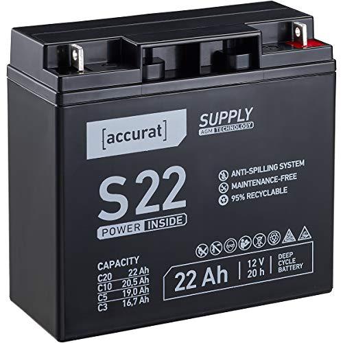 Accurat 12V 22Ah Blei-Akku AGM Blei-Batterie Zyklenfest Supply-Serie VRLA Versorgungsbatterie (wartungsfrei)