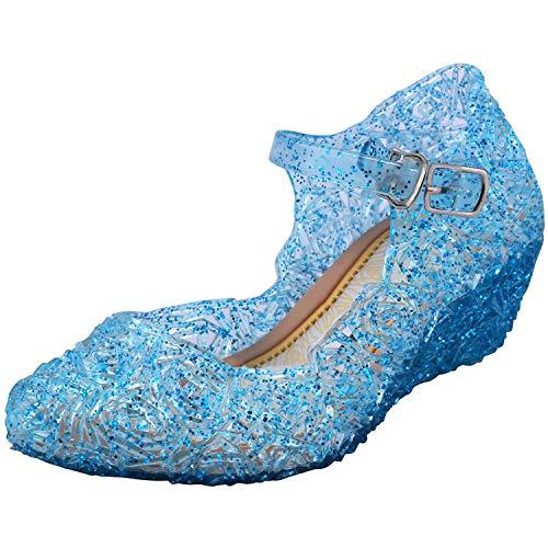 Tyidalin Niña Bailarina Zapatos de Tacón Disfraz de Princesa Zapatilla de Ballet Para 3 a 12 Años Azul EU28-33 (EU 25(Talla del Fabricante 27))
