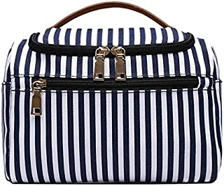 SODIAL Striped Storage Bag Cosmetic Bag Multi-Function Cosmetic Bag Ladies Handbag Canvas Travel Bag