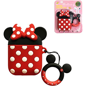 Airpods Case, AKXOMY Cute Cartoon Minnie Mouse Airpods Case, Charging Drop-Proof Silicone Protective Cover Case for Girls Kids Teens Boys Airpods (Minnie)
