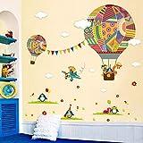 Dessin animé ballon à air chaud Stickers muraux chambre d'enfants maternelle environnement disposition Stickers muraux autocollants (multicolore) Jasnyfall