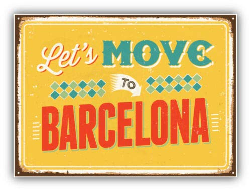 Let's Move to Barcelona Vintage Travel Label - Sticker Graphic - Auto, Wall, Laptop, Cell, Truck Sticker for Windows, Cars, Trucks