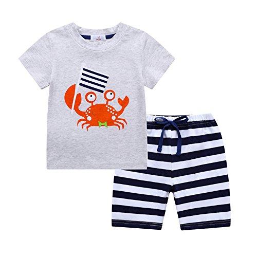 URMAGIC Baby Boys Clothes Sets Cartoon Print Short Sleeve T-Shirts -Striped Pants Summer