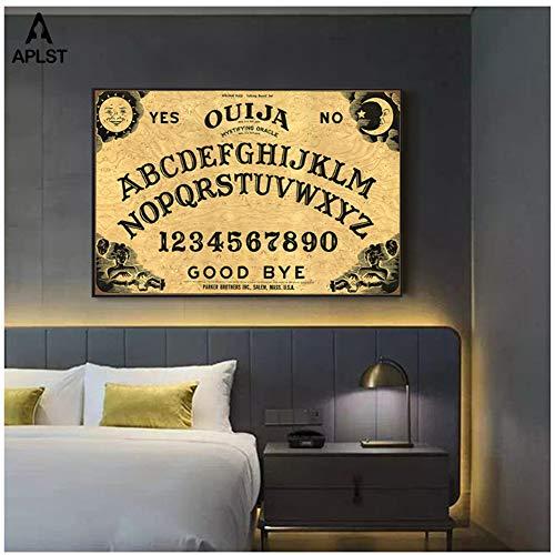 chtshjdtb Ouija Poster Wandkunst Leinwand Malerei Wohnkultur Bilder für Schlafzimmer Wohnzimmer Druck auf Leinwand -60x80cm Kein Rahmen