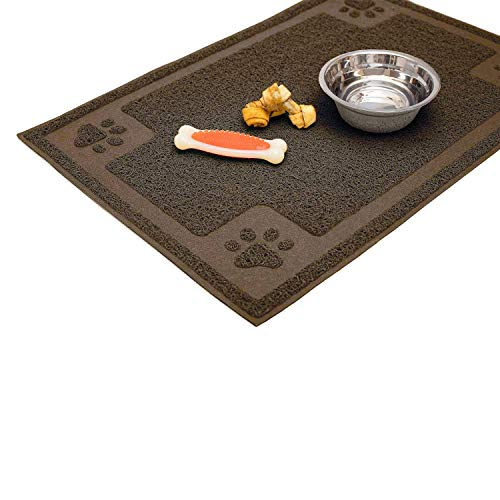 Cavalier Pets Dog Bowl Mat for Cat and Dog Bowls Silicone NonSlip Absorbent Waterproof Dog Food Mat Easy to Clean Unique Paw Design Medium 24Inch Brown
