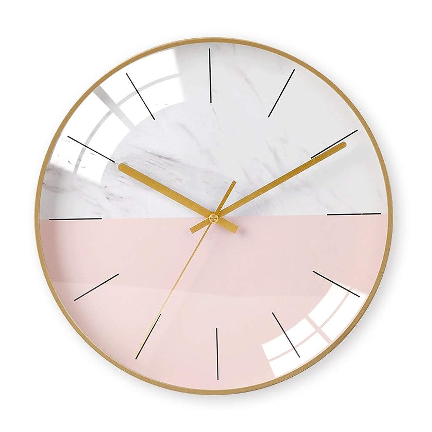 地元群がる不純シンプルな家の壁時計リビングルームの寝室の人格創造的なファッションクロック大気の壁時計、多色オプション JSFQ (Color : Pink)