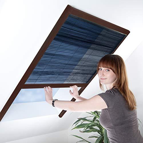 Fliegengitter Plissee für Dachfenster bis max. 150 x 177 cm - Insektenschutz - Dachfensterplissee - 160 x 180 cm | brauner Rahmen