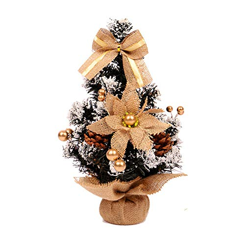 Fulltime® Décorations de Noël, 35cm Mini Arbre De Noël Fleur Table Décor Festival Fête Ornement Cadeau De Noël (Or)
