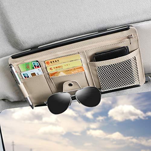 IWILCS Organizador de visera de coche de piel sintética para el coche, para tarjetas, teléfono móvil, tarjetas de crédito, gafas de sol, color beige